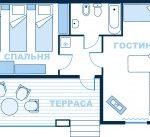 4-местный 2-комнатный в коттедже