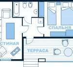 3-местный 2-комнатный в коттедже
