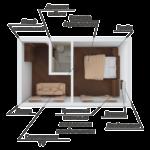 Семейный номер в корпусе№1 (Площадь 25 кв м, половое покрытие –ламинат. В номере: кондиционер ,спутниковое ТВ LCD,мини-холодильник, сейф. Мягкая мебель – тахта «детская», в разложенном виде р-р1,8 х 0,9 ,удобно для 2 человек, двухспальная кровать, шкаф, стол  .   Туалетная комната с душем, аристон, полотенца банные)