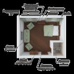 Номер Сюит в корпусе№1 (Площадь 30 кв м, половое покрытие ламинат. В номере: кондиционер ,спутниковое ТВ LCD,мини-холодильник, сейф, двухспальная кровать, раскладной диван,2 кресла, стол, шкаф,  зеркало. Туалетная комната с душем аристон ,полотенца банные)