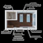 Номер стандарт в корпусе№1 (Площадь 17кв м, половое покрытие – ламинат. В номере: кондиционер ,спутниковое ТВ LCD,мини-холодильник, сейф ,2 полуторные кровати, тумбочка, шкаф, стол, зеркало. Туалетная комната с душем , аристон, полотенца банные)